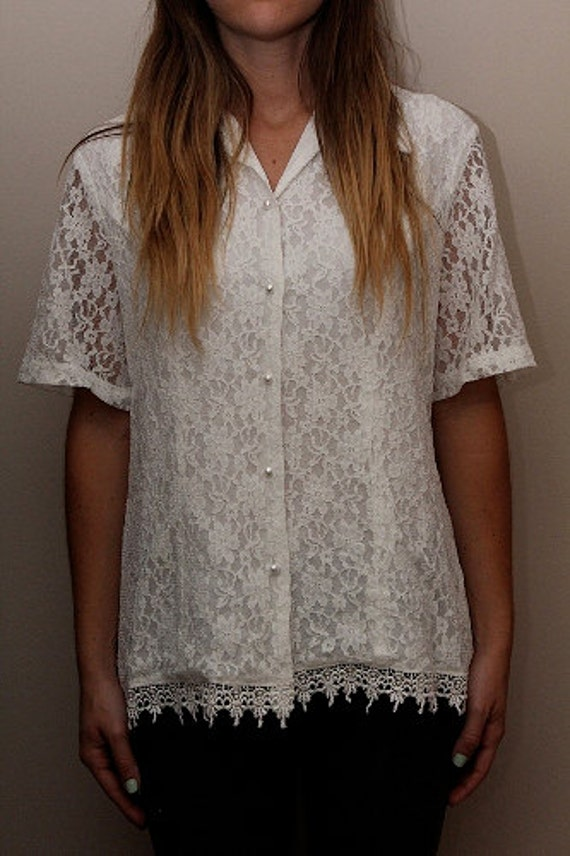Women's Vintage White Detailed Lace Shirt
