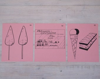 vintage french flash card trio - ice creams, patisseries and glace