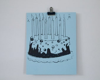 vintage baby blue birthday cake with candles french flash card