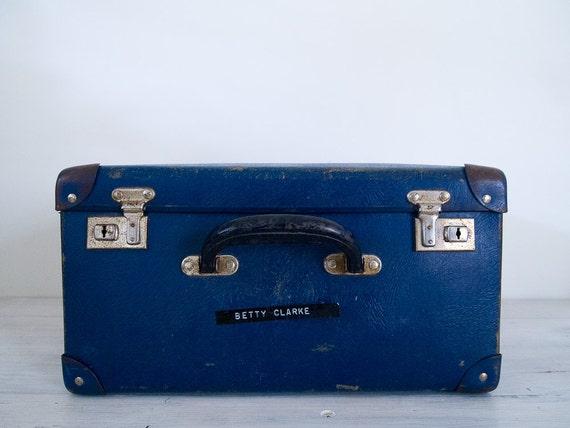 navy blue vintage suitcase