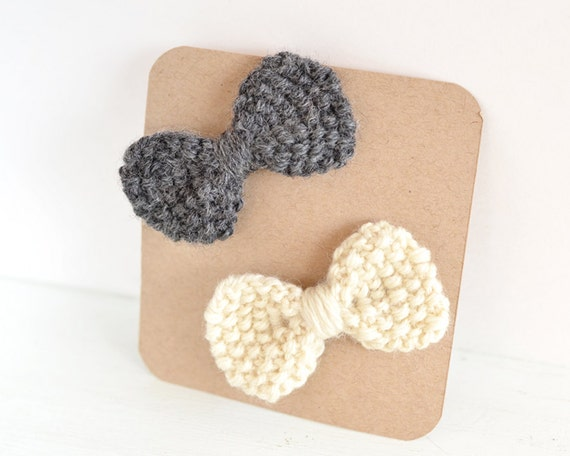 Set of 2 Hand Knit Bow Hair Clips, Spring Fashion, Girl's Accessories