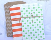 21MeDiUM AuTumN MiX PaPER BAGs- Brown kraft-orange stripe-green dot-party favors--gifts---weddings--showers--21ct