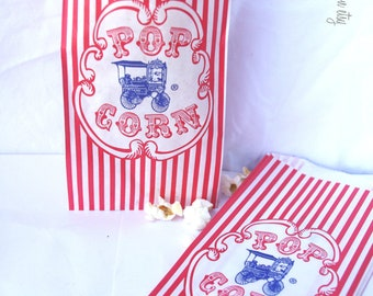 10ViNTaGe STyLe WaGoN PoPCoRn BaGs---Birthday Parties--Carnival theme---sports theme--10ct