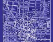 1949 Vintage Map of Detroit Michigan  16x20 Blueprint Map Print Poster