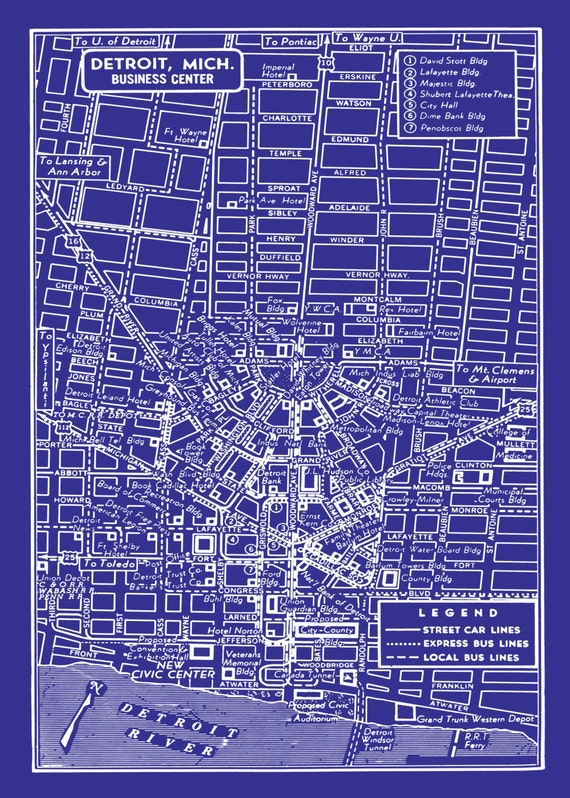1949 vintage map of detroit michigan blueprint map print like this item malvernweather Image collections