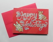 Corgi Christmas Happy Holidays Greeting Card