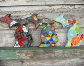 Mosaic Mitten State- Whole Michigan Wall Art