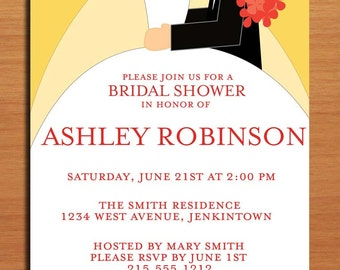 Wedding Couple Bridal Shower Customized Printable Invitations /  DIY