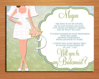 Will You Be My Bridesmaid / Semi Formal Bride Set of 3 Customized Printable Invitations /  DIY