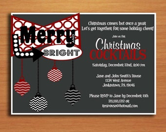 Retro Merry and Bright / Customized Printable Christmas Party Invitations /  DIY