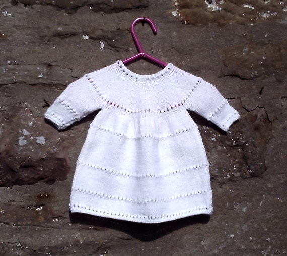 Hand knitted girls white dress / cardigan set, 6 items.Preemie early baby 12""