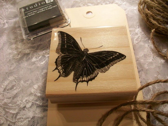 Wood Mounted Butterfly Rubber Stamp
