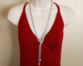 Vintage Long Rhinestone Lariat Necklace -:- Adjustable, Perfect Condition