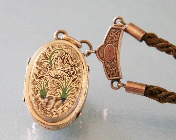 Antique Victorian Mourning Locket -:- Enamel, Hair Work Chain, Civil War Era