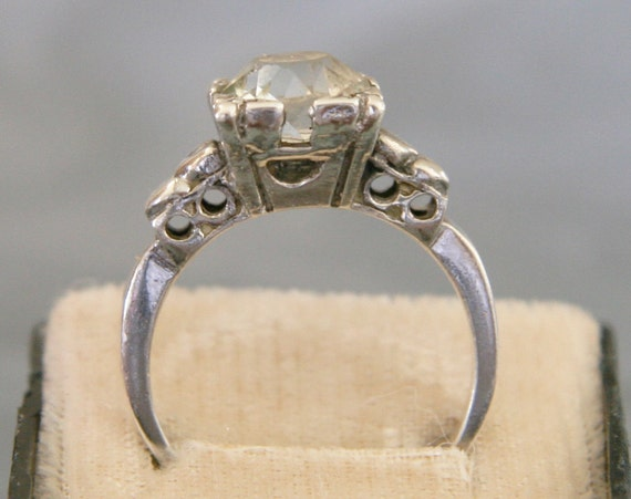 Vintage 1940s Sterling Silver Engagement Ring -:- Heart Band, size 8 to 8-1/4