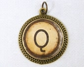 Letter Q Pendant - Initial Jewelry Personalized Resin Circle Alphabet Charm Old Typewriter Key Pendant