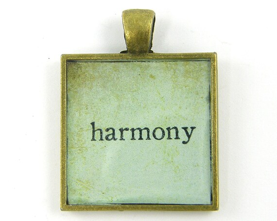 Harmony Pendant - Inspirational Affirmation Positive Word Text Writing Aqua Brass Square Resin Jewelry