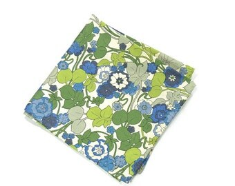 Wedding Mens Pocket Square - Jerry Siegel- Blue and green Flowers Liberty cotton