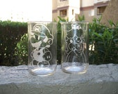 20% off Black Friday Deal Mario & Peach Glasses His and Hers Upcycled Glasses (set of 2)