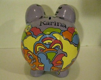 """Personalized, Handpainted, Colorful """"Homage to the Beatles"""" Piggy Bank - Large - MADE TO ORDER - Personalized"""