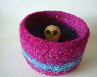 felted wool bowl container treasure dish magenta and turquoise