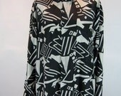 90s AVANT Black and White Keith HARING-esque Abstract Optic OVERSIZE Button-down Silk Shirt