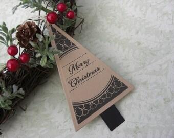 Christmas Tree Tags Set of 5 Vintage Style Black/Kraft
