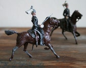 Two Vintage Lead Soldier Men on Horses Toys