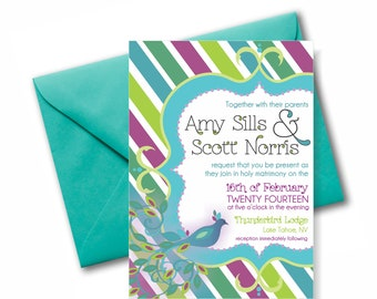 The Striped Peacock Invitation Suite: 5x7 Invitation, RSVP Card, Envelopes