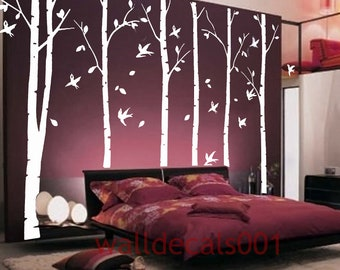 "Wall Decal Tree Decal kids decals wall Stickers Kids wall art home decor forest decal wall decor murals graphic- -6 100"" birch trees"