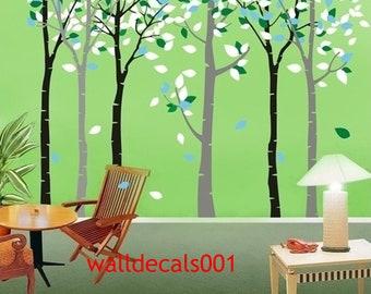 Birch tree Wall Decalsnature room decor wall decor wall art  - Birch Forest 6birch trees