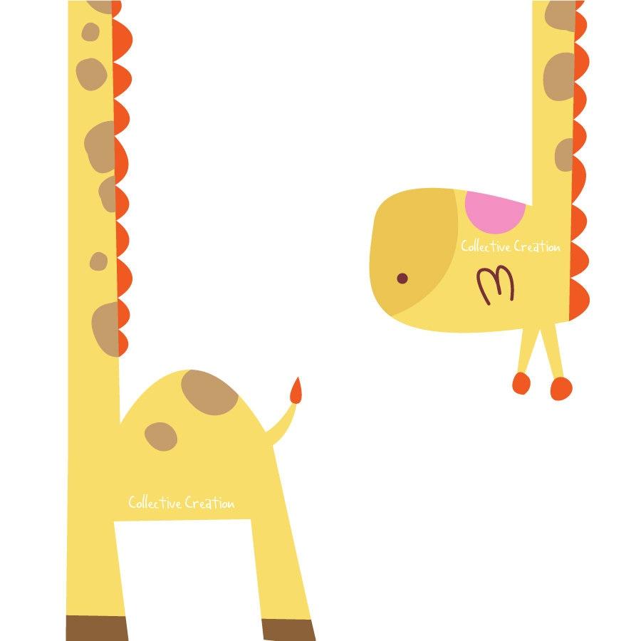 Baby Shower Giraffe Clip Art Two Part Giraffe Digit...