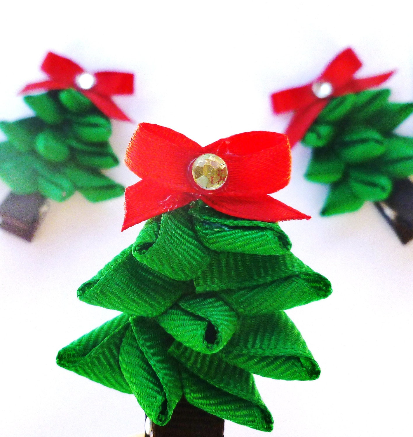 Christmas Tree Ribbon Sculpture Hair Bows By BowsForShow