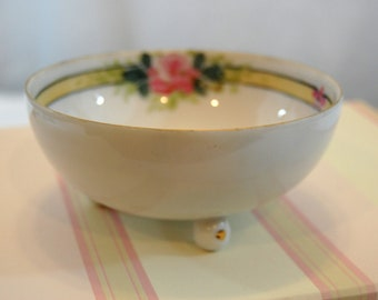 Vintage Nippon Nut Bowl, Vintage Hand Painted Bowl, Shabby Floral Footed Bowl, Vintage Nippon Candy Dish from The Eclectic Interior