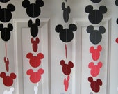 Black, Red, and White Mouse Style Garland Strand, Birthday Party Decorations, Mickey Themed Party Decorations