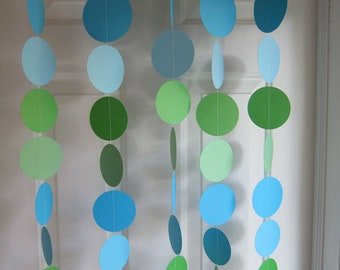 Paper Garland, Blues & Greens Decorations, Baby Boy Shower Decorations, Ocean Birthday, Blue Wedding, Beach Party