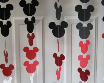 Black red and white mouse style garland strand birthday for Arland decoration