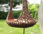 Plant Hanger/Bird Feeder Indoor Outdoor Crochet - Brown Tweed or Any Color Of Your Choosing