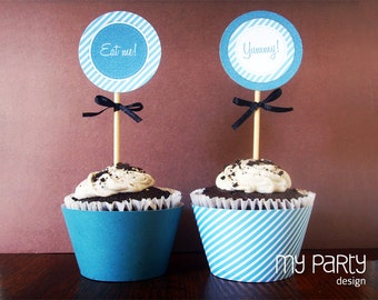 Printable Party Pack - Teal Party Flags, Cupcake Toppers & Cupcake Wrappers - Teal and Turquoise - INSTANT DOWNLOAD - Printable PDF
