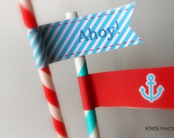 Nautical Party - Straw Flags - Red and Blue - INSTANT DOWNLOAD - Printable PDF with Editable Text
