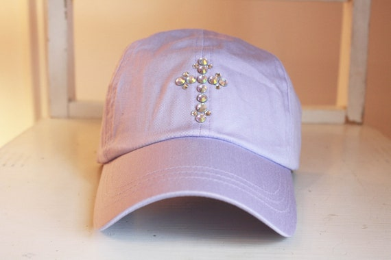 Faith Hat - AB Crystal Rhinestone Cross - purple lavender baseball cap golf hat - Gift under 30
