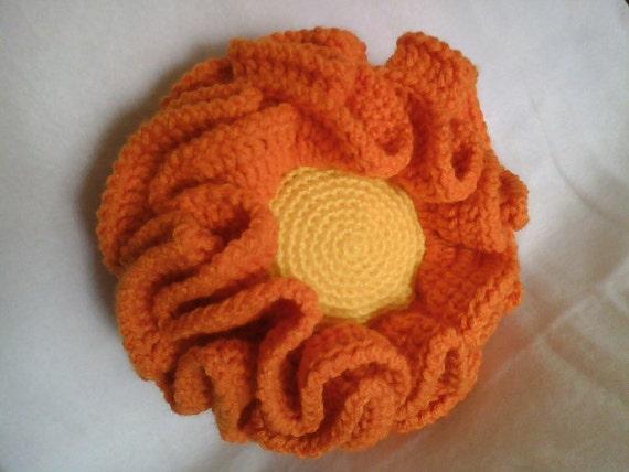 Ruffled Flower Pillow, Crocheted, Orange