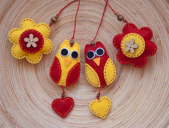 Set of two felt owl bookmarks in red and yellow, felt owl ornament