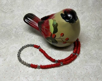 Red Bone Heishi and Silver Necklace