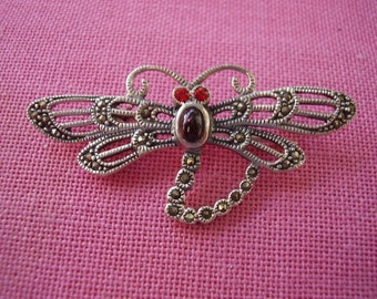 Vintage Sterling Silver Marcasite Dragon Fly Pin