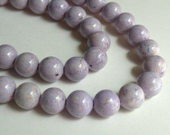 Riverstone beads in light purple lavender round gemstone 12mm full strand 9463GS