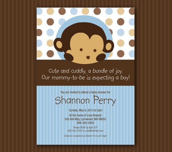 Blue monkey baby shower invitation matches mod pod pop monkey blue monkey baby shower invitation matches mod pod pop monkey nursery bedding filmwisefo Choice Image