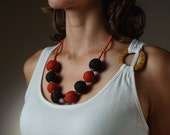 Felted Jewelry Chunky Necklace / Autumn Halloween Necklace Orange and Brown