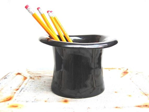 Pencil cup top hat office decor, vintage, mans desk, businessman,planter