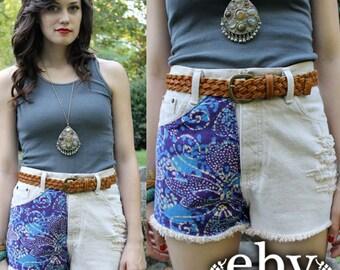 Vintage Shredded BATIK Cut Offs Shorts S M Vintage Cutoffs Hippie Shorts Hippy Shorts Festival Shorts High Waisted Shorts High Waist Shorts
